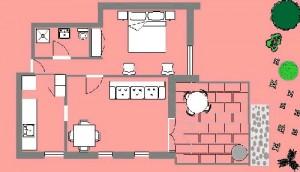 Apartments Novalja - Villa Margareta Novalja - Red Apartment Floorplan