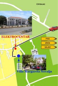 Apartments Novalja - How to reach Villa Margareta Novalja - Map