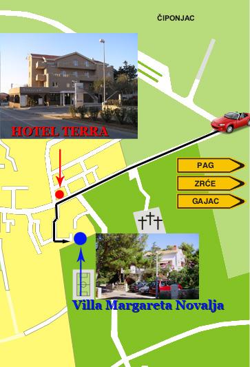 How to reach Villa Margareta Novalja